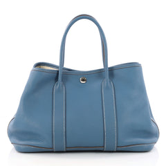 Hermes Garden Party Tote Leather 30 Blue 3229901