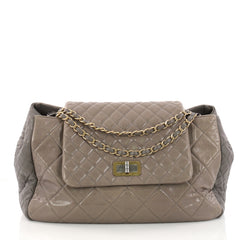 Chanel East West Mademoiselle Lock Tote Quilted Glazed Calfskin Large Gray 3230002