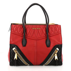 Miu Miu Biker Convertible Tote Leather Medium Red 3230203
