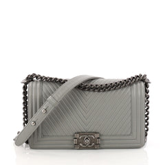 Chanel Boy Flap Bag Chevron Calfskin Old Medium Gray 3230603