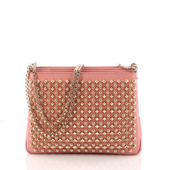 Christian Louboutin Triloubi Chain Bag Spiked Leather Pink 3236301