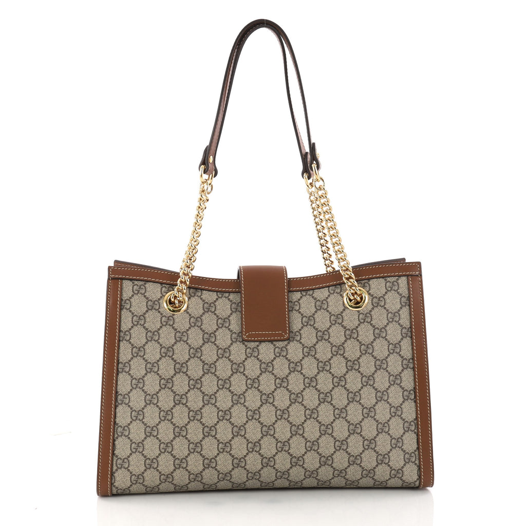 60e3719ca9c Buy Gucci Padlock Chain Tote GG Coated Canvas Medium Brown 3240102 ...