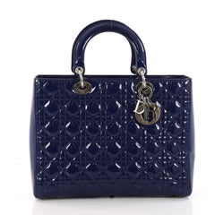 Christian Dior Lady Dior Handbag Cannage Quilt Patent Large 3244903