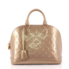 Louis Vuitton Alma Handbag Monogram Vernis PM Gold 3246201