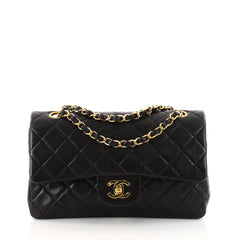 Chanel Vintage Classic Double Flap Bag Quilted Lambskin Small Black 3247002