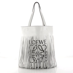 Loewe Vertical Logo Fringe Tote Printed Leather Brown 3247602