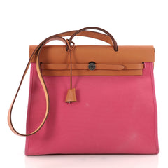 Hermes Herbag Zip Leather and Toile 39 Pink 3252403
