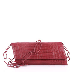 Nancy Gonzalez Convertible Ring Clutch Crocodile Medium Red 3255303