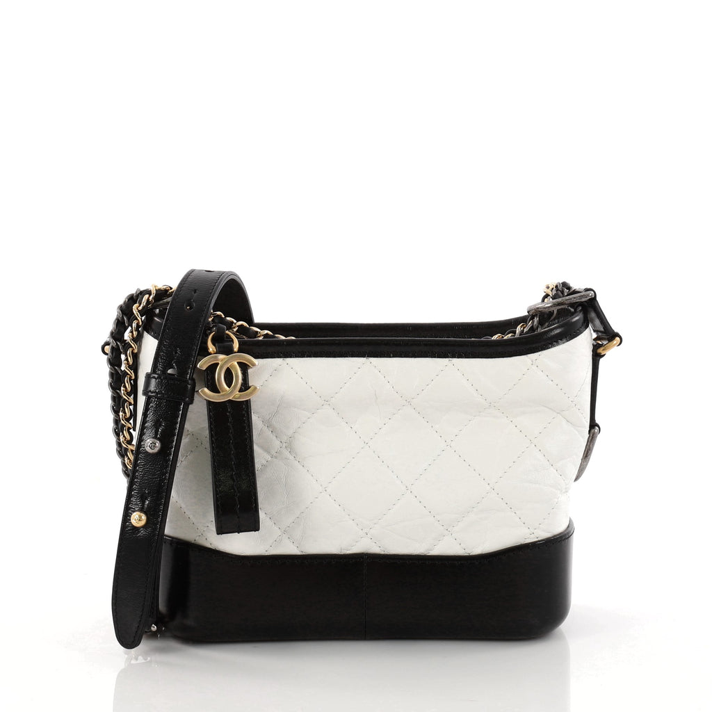 f03af91660ac Chanel Aged Calfskin Quilted Small Gabrielle Backpack Black White ...