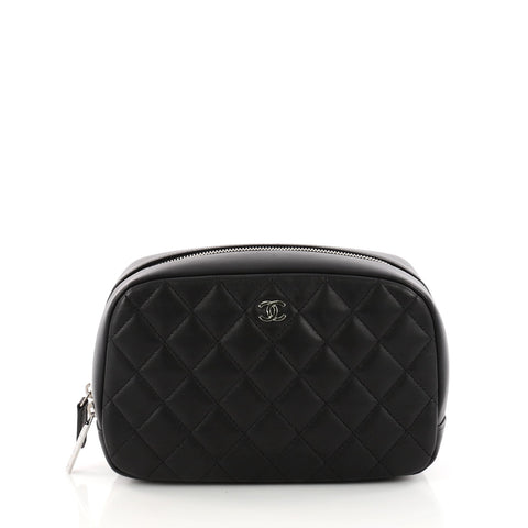 b2be0e053 Buy Chanel CC Cosmetic Pouch Quilted Lambskin Medium Black 3256002 – Rebag