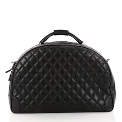 Chanel Airlines Round Trip Bowling Bag Quilted Calfskin Large Black 3256003