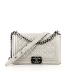 Chanel Boy Flap Bag Quilted Caviar Old Medium Silver 3256501