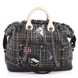 Chanel Crest Trip Bowling Bag Patch Embellished Tweed Gray 3257601