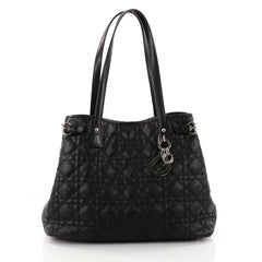 Christian Dior Panarea Tote Cannage Quilt Canvas Small Black 3258701