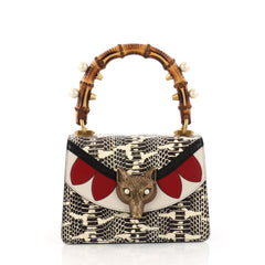 Gucci Broche Bamboo Top Handle Bag Snakeskin with Leather Mini Brown 3259703