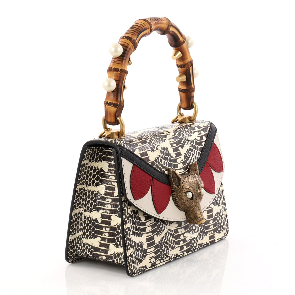 5a1ca1c105b421 Buy Gucci Broche Bamboo Top Handle Bag Snakeskin with 3259703 – Rebag
