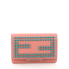 Fendi Wallet on Chain Studded Leather Pink 3261101