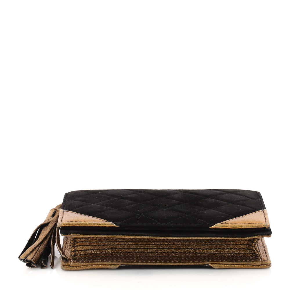 How To Make A Book Clutch With Zipper ~ Buy chanel book clutch quilted suede black u rebag