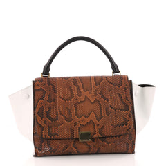 Celine Trapeze Handbag Python Medium Brown 3265703