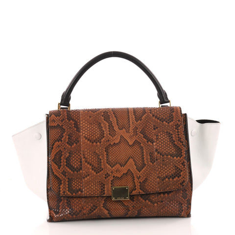 0d73dd7900 Celine Trapeze Handbag Python Medium Brown 3265703 – Rebag