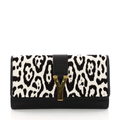 Saint Laurent Chyc Clutch Printed Pony Hair and Leather Black 3266804