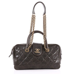 Chanel Shiva Bowler Bag Quilted Caviar Green 3267002