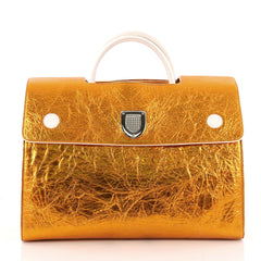Christian Dior Diorever Handbag Metallic Leather Large Orange 3268901