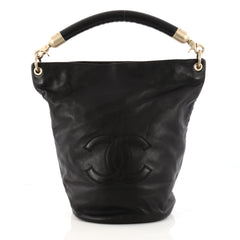 Chanel Vintage CC Handle Bucket Bag Leather Large Black 3269301