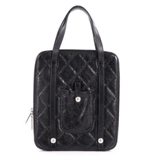 Chanel Ipad Top Handle Bag Quilted Glazed Calfskin Medium Black 3270001