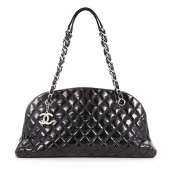 Chanel Just Mademoiselle Handbag Quilted Glazed Calfskin Medium Black 3271901