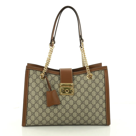 f593f68c912 Buy Gucci Padlock Chain Tote GG Coated Canvas Medium Brown 3274401 – Rebag