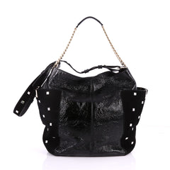 Jimmy Choo Anna Tote Leather and Studded Suede Black 3276004