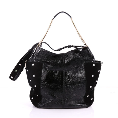 90e92310f3f6 Buy Jimmy Choo Anna Tote Leather and Studded Suede Black 3276004 – Rebag