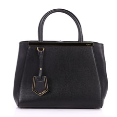 Fendi 2Jours Handbag Leather Petite Black 3276801