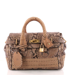 Gucci Handmade Satchel Python Medium Brown 3277103