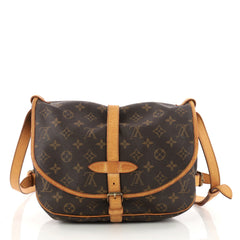 Louis Vuitton Saumur Handbag Monogram Canvas PM Brown 3277604