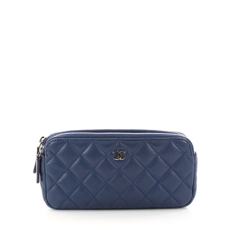 Chanel Double Zip Clutch with Chain Quilted Lambskin Blue 3277701 – Rebag 26a3935ec2747