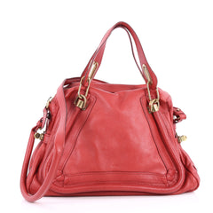 Chloe Paraty Top Handle Bag Leather Medium Red 3278302