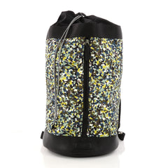 Fendi Front Zip Backpack Printed Nylon Large Green 3278603