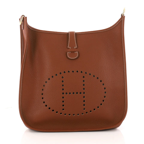 8ddae705f072 Buy Hermes Evelyne Crossbody Gen I Clemence PM Brown 3282703 – Rebag
