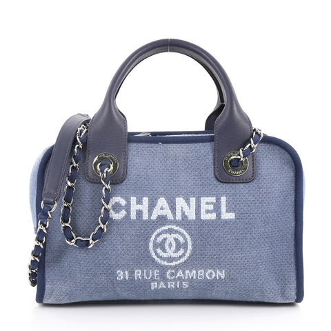 49b4d2ac2896 Buy Chanel Deauville Bowling Bag Canvas Small Blue 3283002 – Rebag