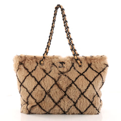 Chanel Vintage CC Chain Tote Printed Lapin Fur Medium Brown 3289003