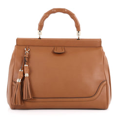 Gucci Bold Bamboo Top Handle Bag Leather Brown 3290101
