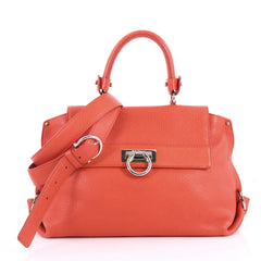 Salvatore Ferragamo Sofia Satchel Pebbled Leather Medium Red 3292105