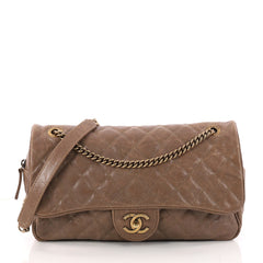 Chanel Easy Flap Bag Quilted Caviar Jumbo Brown 3293501