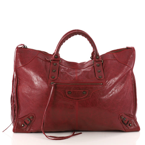 406b85354a Buy Balenciaga Weekender Classic Studs Handbag Leather Red 3294902 – Rebag