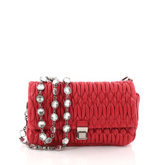 Miu Miu Crystal 2way Pouch Matelasse Leather Small Red 3294904