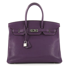 Birkin Handbag Ultraviolet Purple Clemence with Palladium Hardware 35