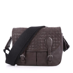 Bottega Veneta Gardena Messenger Bag Cervo Leather with Intrecciato Detail Small Brown 3296701