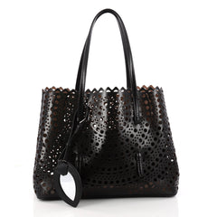 Alaia Open Tote Laser Cut Leather Medium Black 3298401